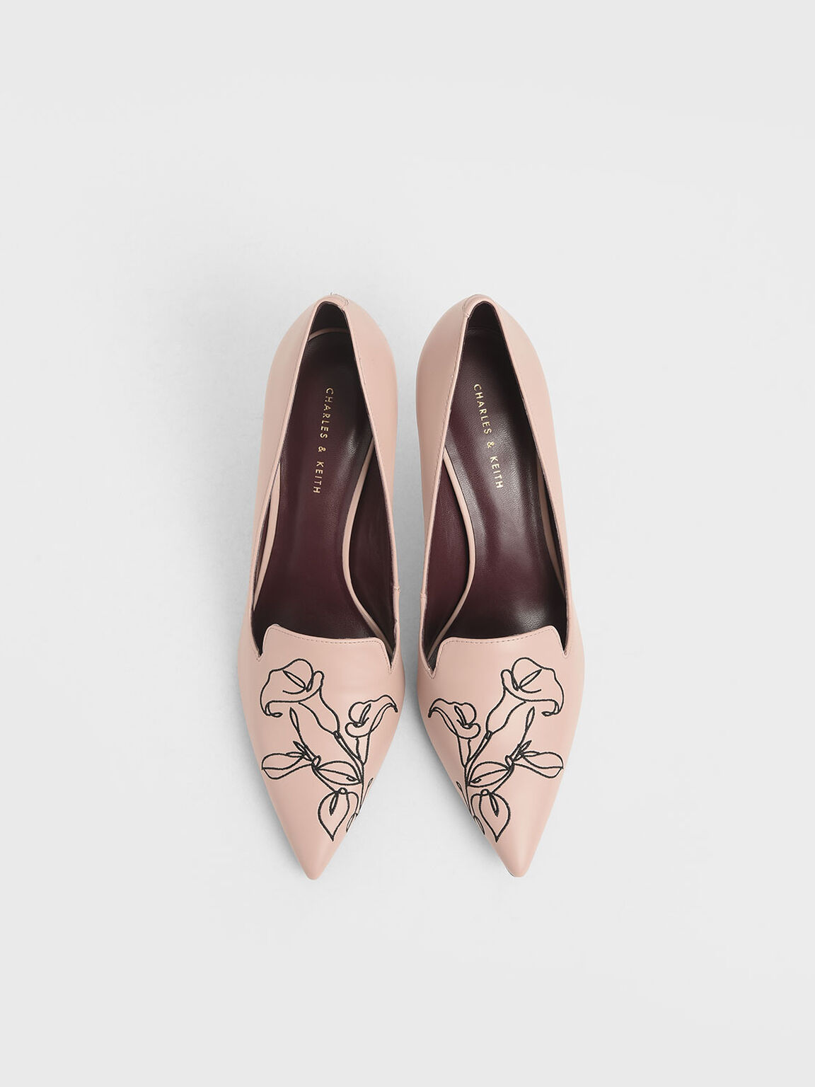 Floral Embroidered Stiletto Pumps, Nude, hi-res
