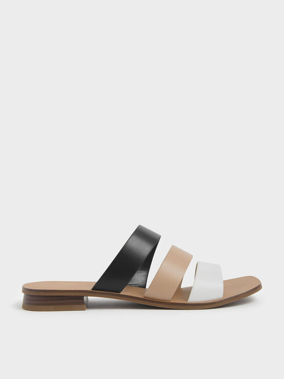 Tri-Colour Strappy Slide Sandals, Multi, hi-res