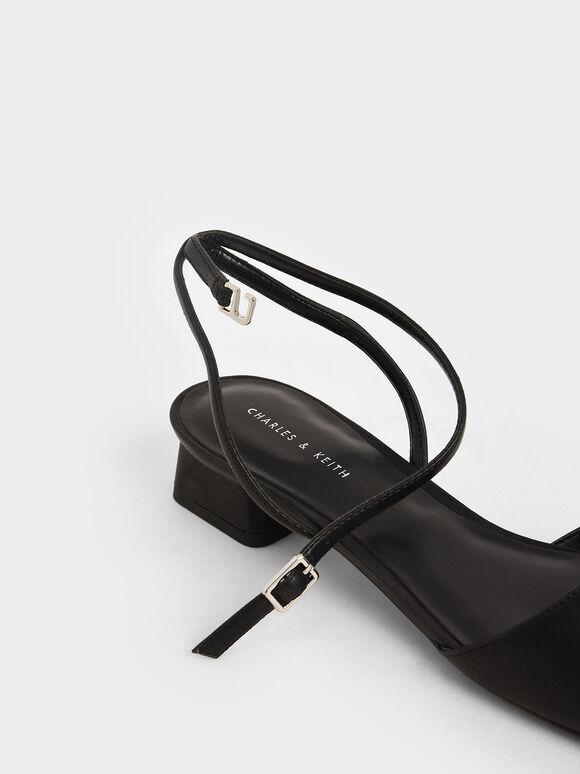 方頭繞踝低跟鞋, 黑色, hi-res