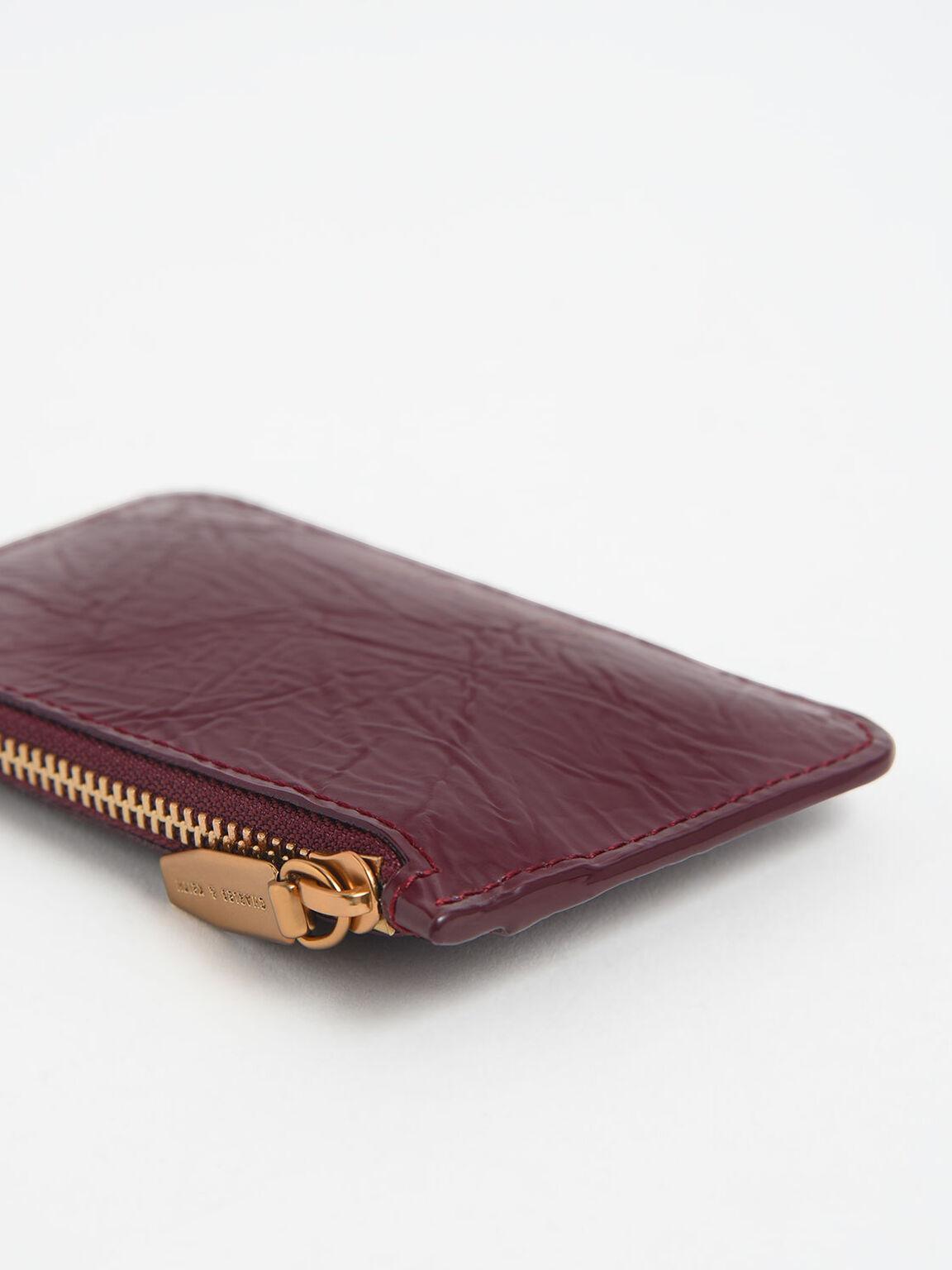 Wrinkled Effect Top Zip Cardholder, Burgundy, hi-res