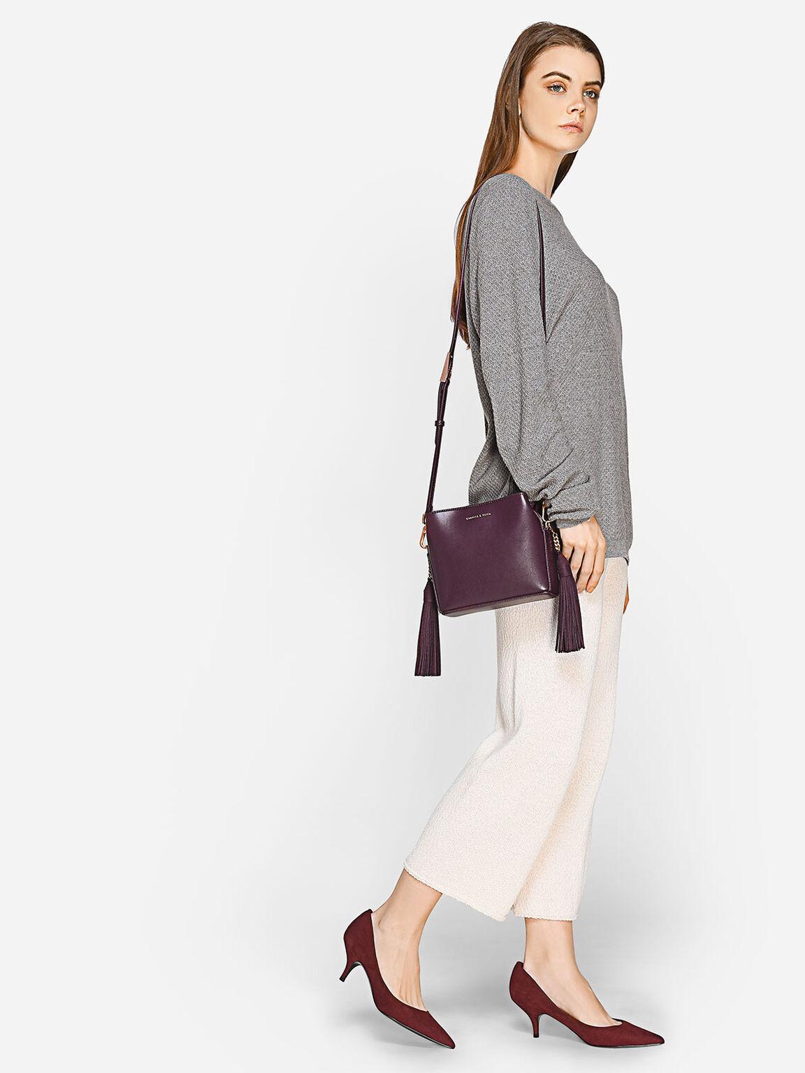 Tassel Sling Bag, Prune, hi-res