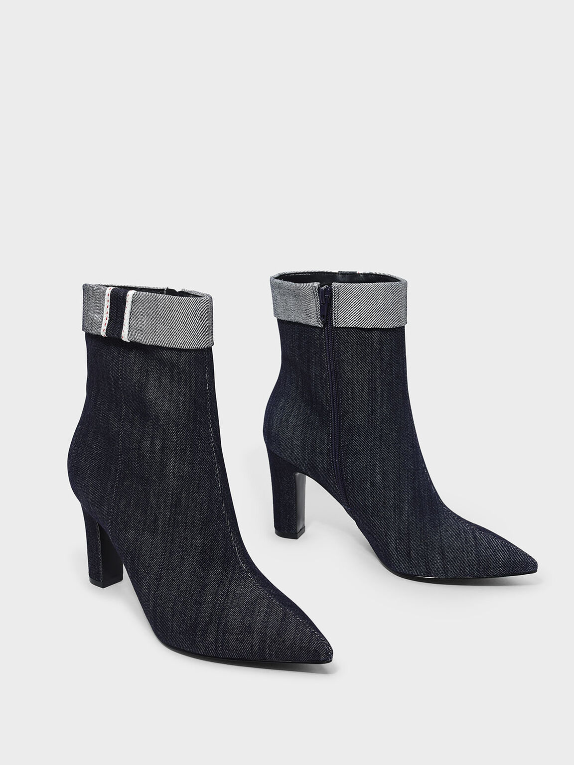 Cuff Detail Pointed Boots, Blue, hi-res