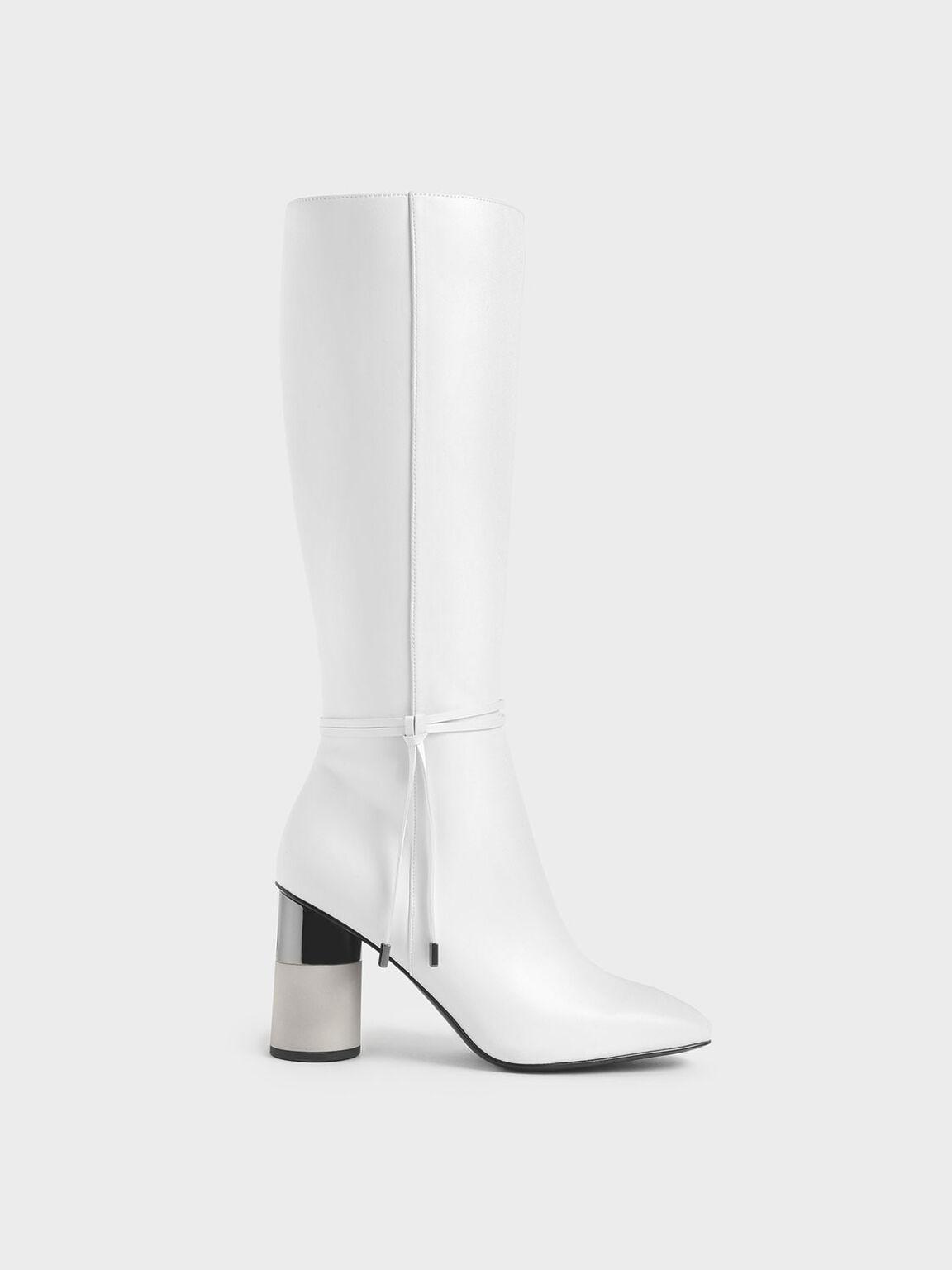 Concrete Heel Knee-High Boots, White, hi-res