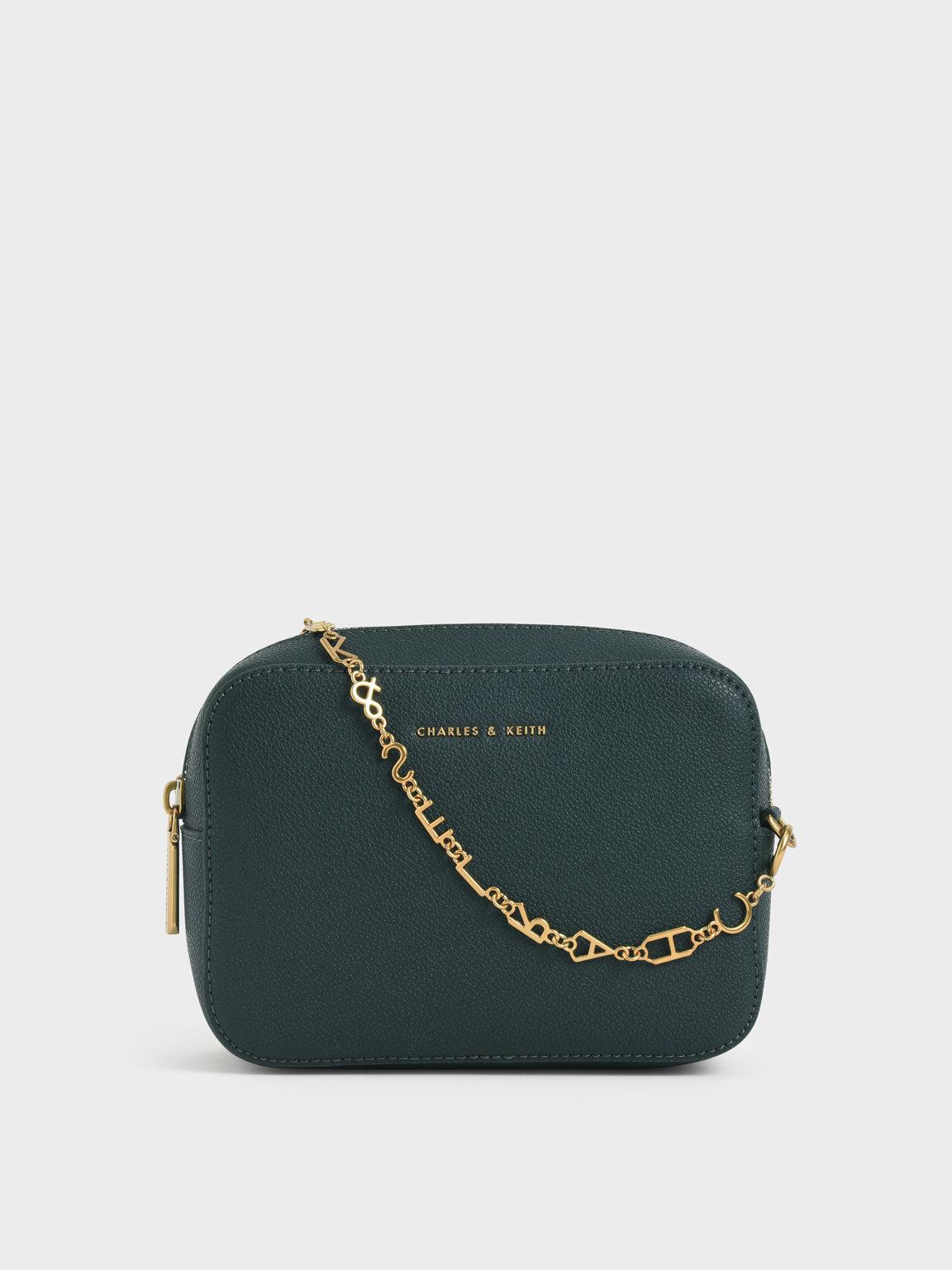 Chain Link Boxy Clutch, Dark Green, hi-res