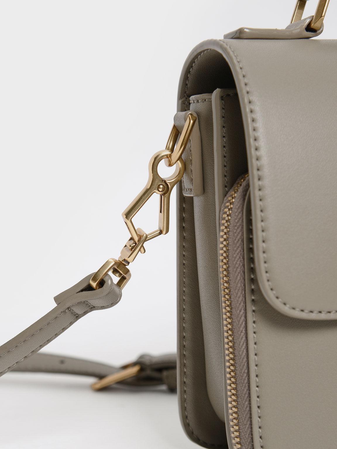 Front Flap Top Handle Crossbody Bag, Taupe, hi-res