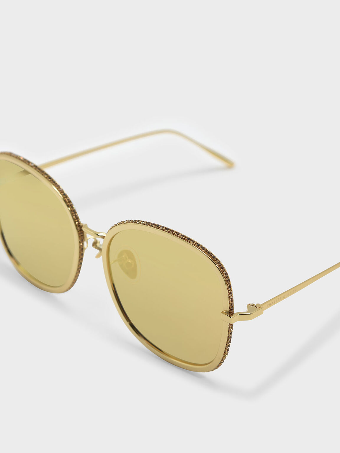 Embellished Sunglasses, Gold, hi-res