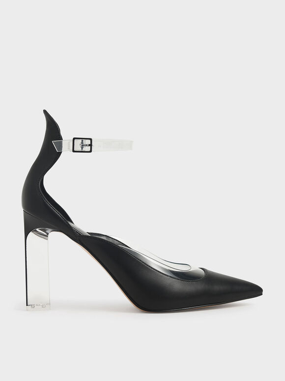 Acrylic Heeled Pumps, Black, hi-res