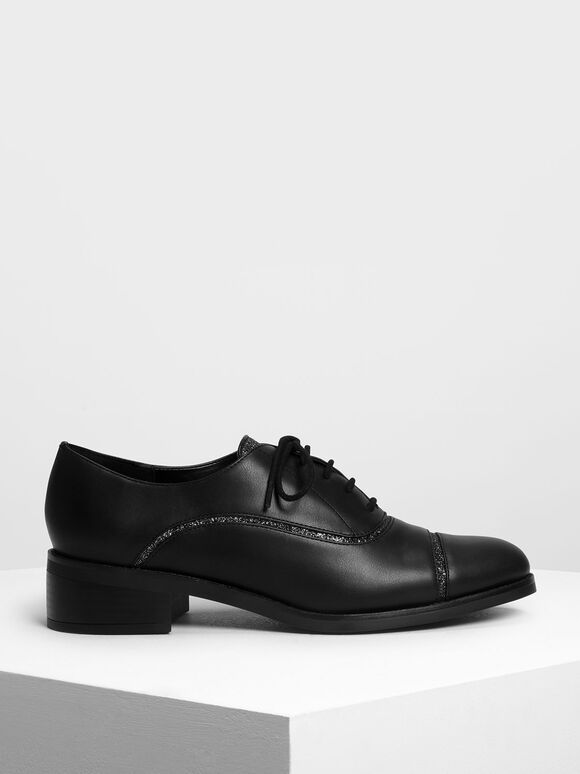 Glitter Panel Oxfords, Black, hi-res