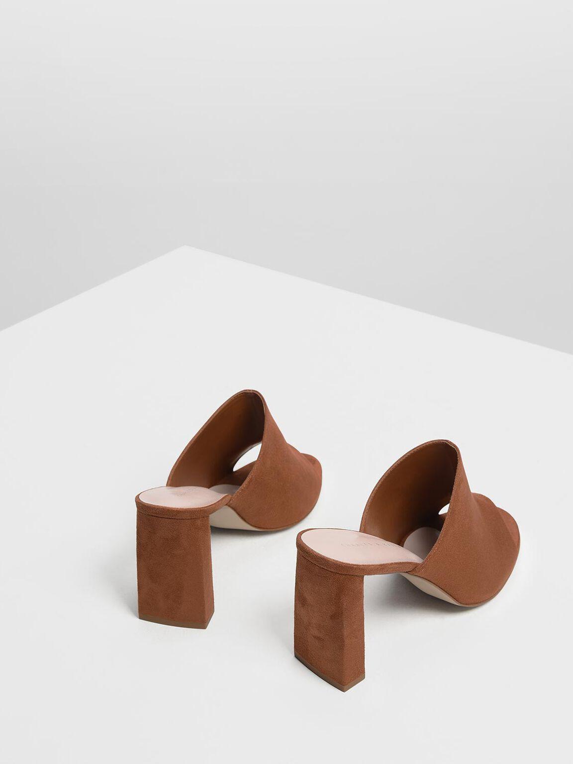 Block Heel Slide Sandals, Cognac, hi-res