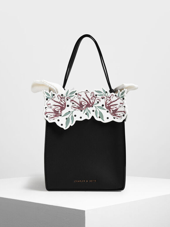 Floral Bucket Bag, Black, hi-res