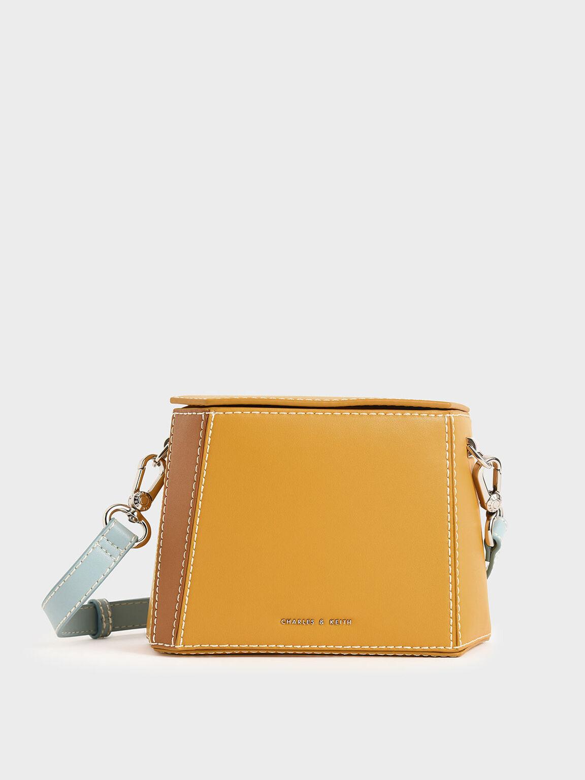 雙色箱型包, 黃色, hi-res