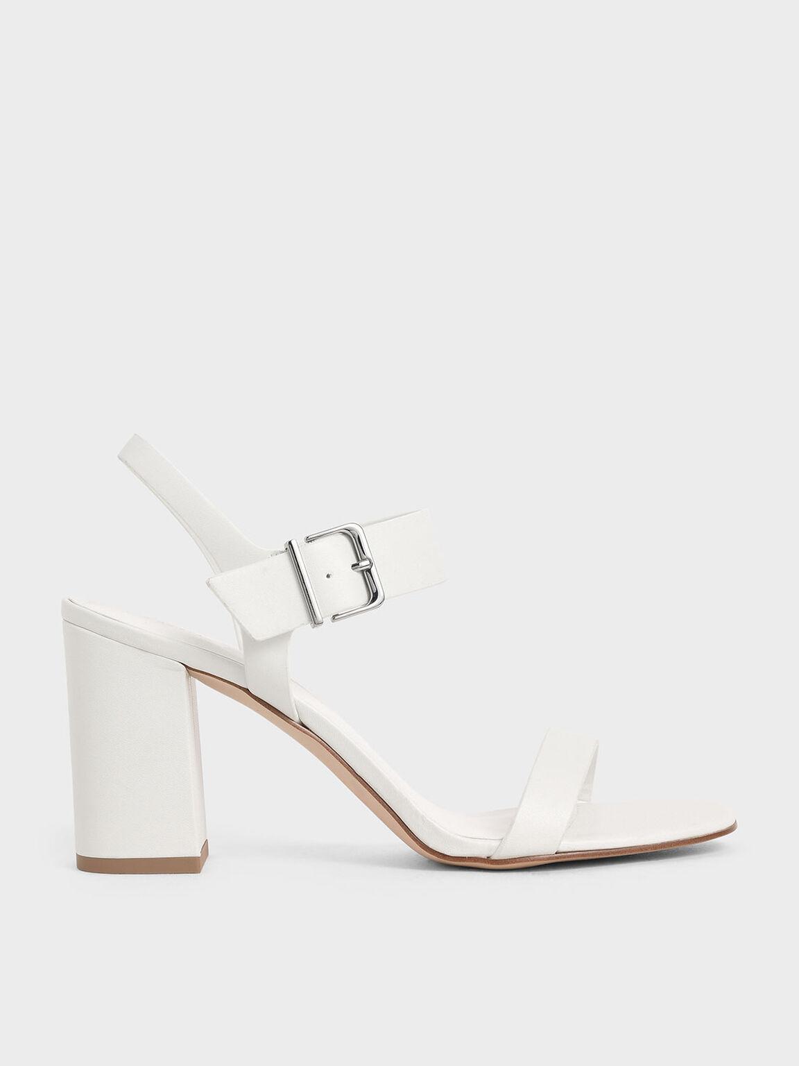 一字高跟涼鞋, 白色, hi-res
