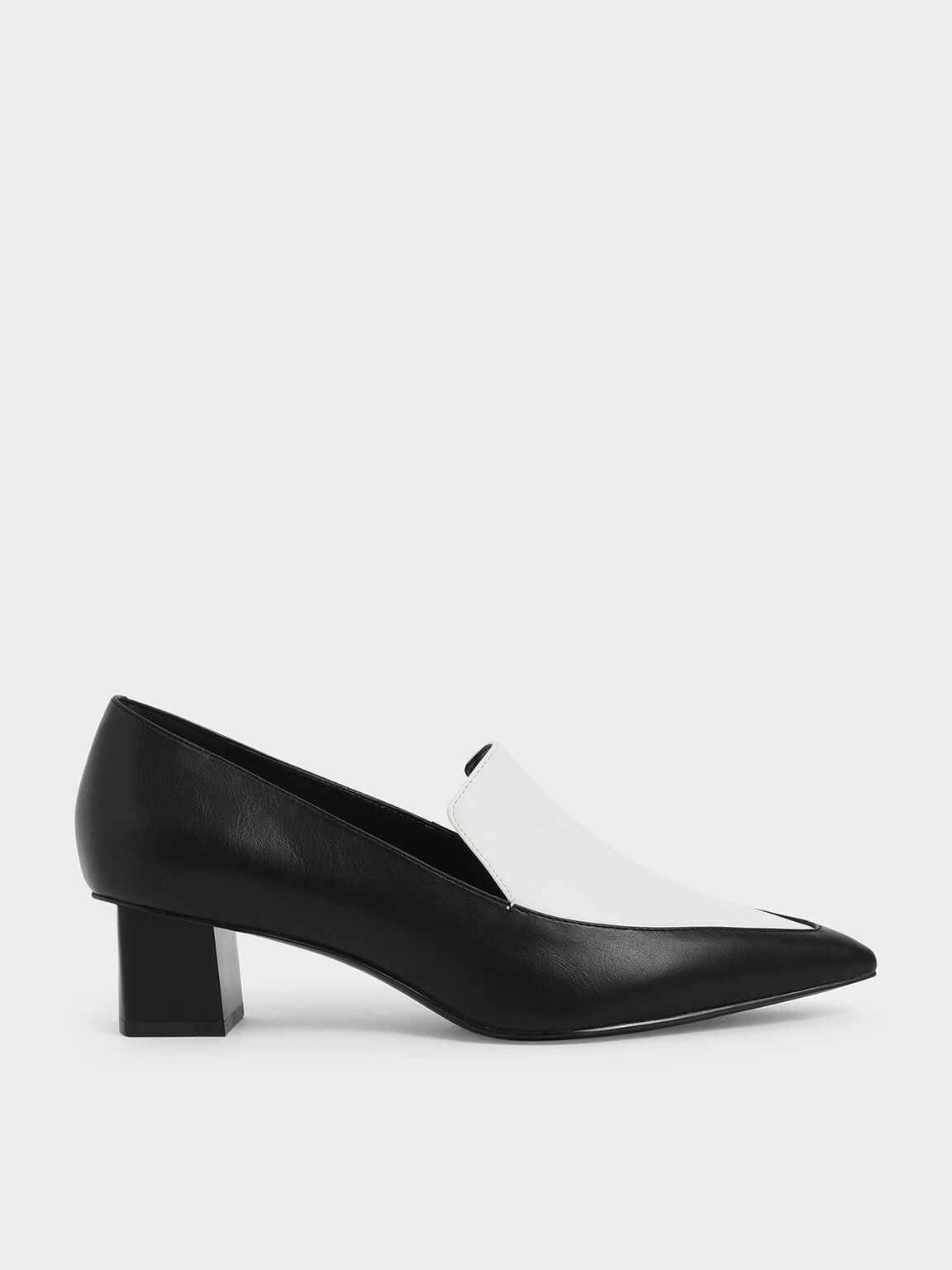 Two-Tone Pointed Toe Loafers, Multi, hi-res