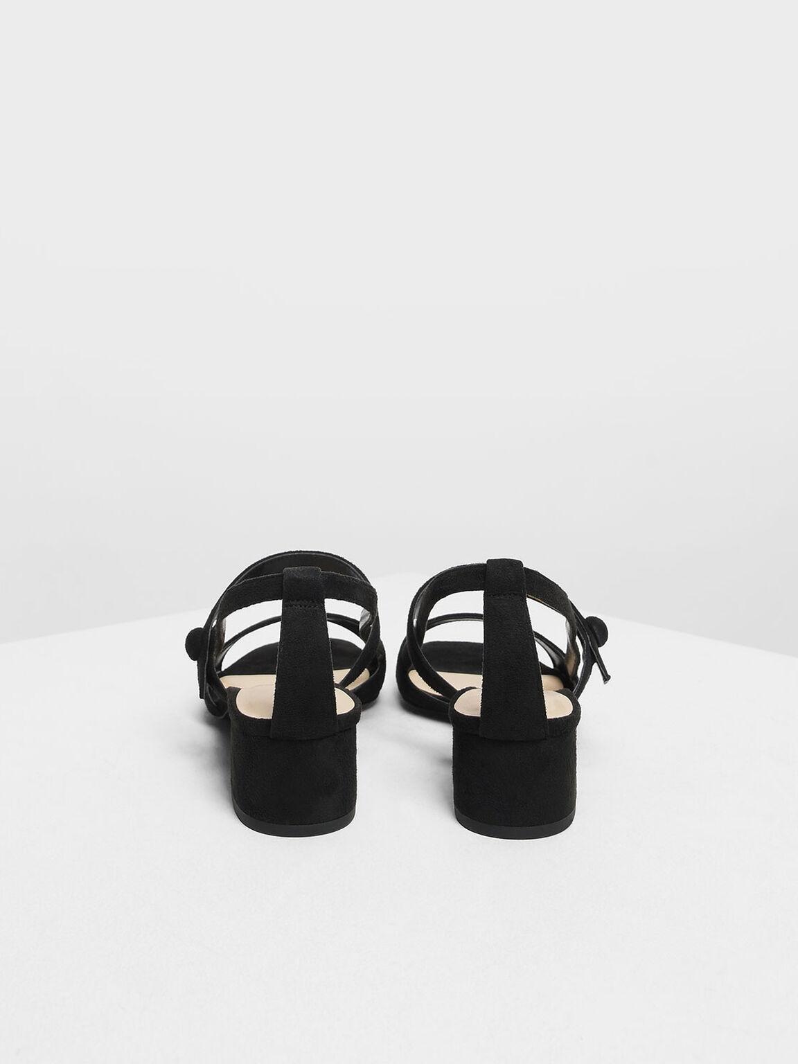 Open Toe Block Heel Sandals, Black, hi-res