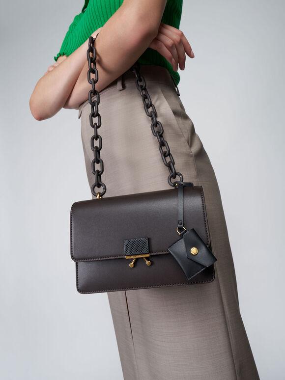 Twist Handle Shoulder Bag, Dark Oak, hi-res