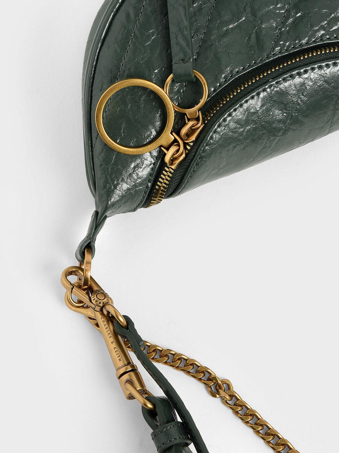 Wrinkled Effect Ring Zip Tassel Crossbody Bag, Dark Green, hi-res