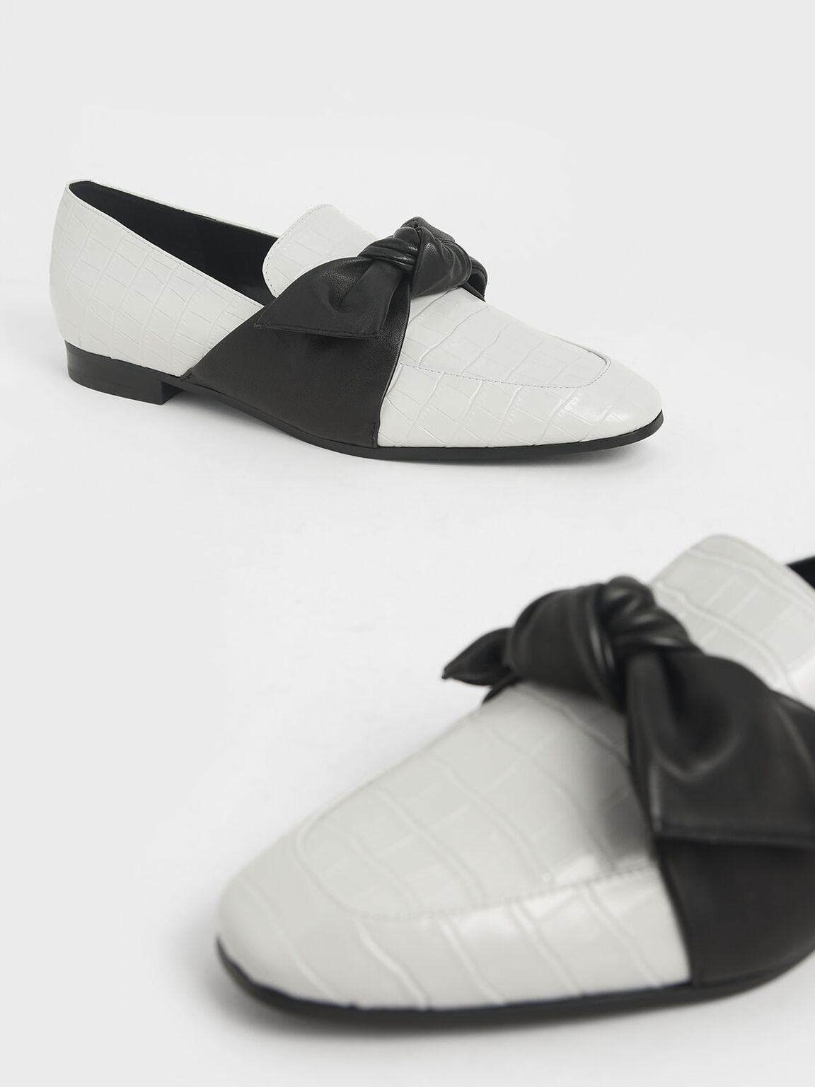 Croc-Effect Leather Bow-Tie Loafers, White, hi-res