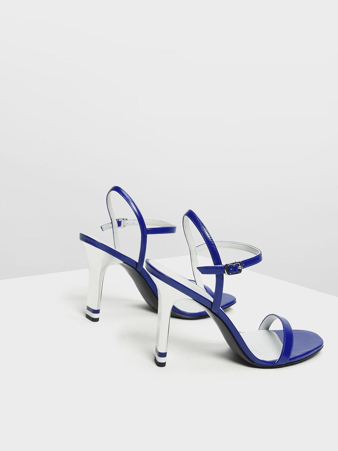 Ankle Strap Blade Heel Sandals, Blue, hi-res