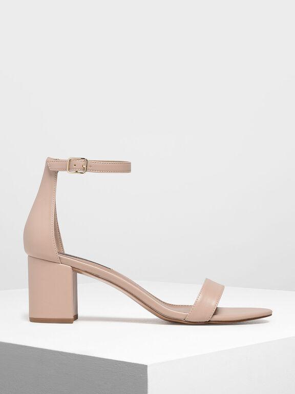 Block Heel Ankle Strap Sandals, Nude, hi-res