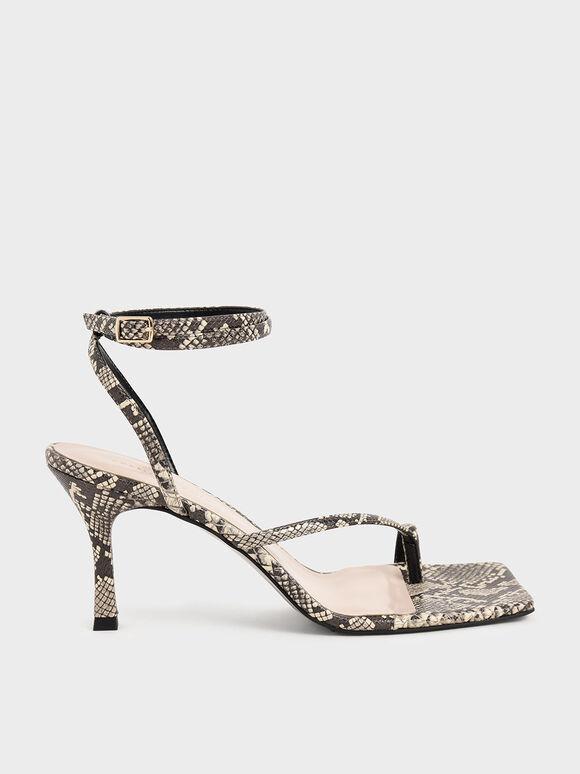 蛇紋斜帶高跟涼鞋, 原色動物紋, hi-res