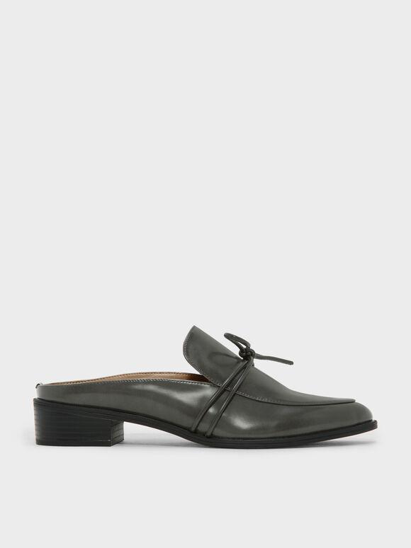 Almond Toe Knot Mules, Grey, hi-res