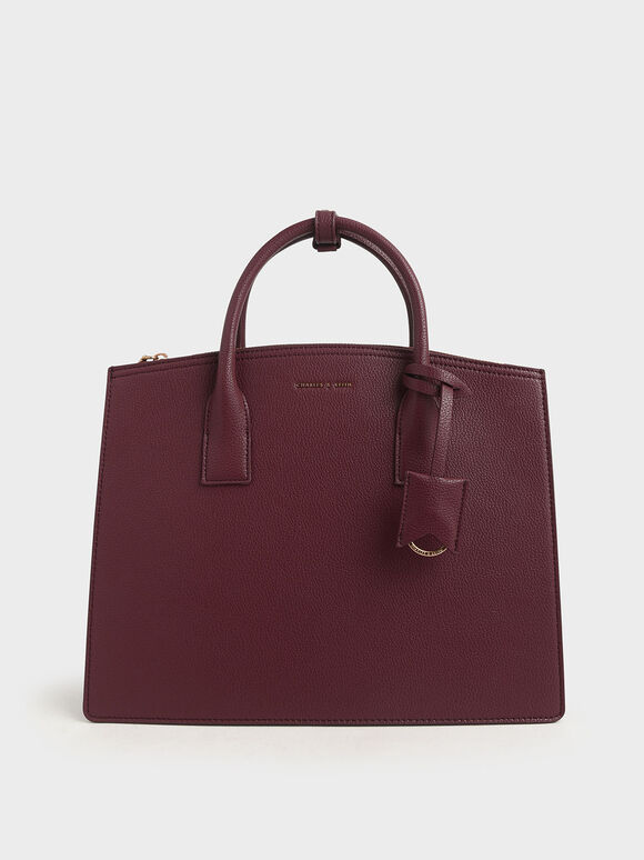 Large Structured Tote Bag, Burgundy, hi-res