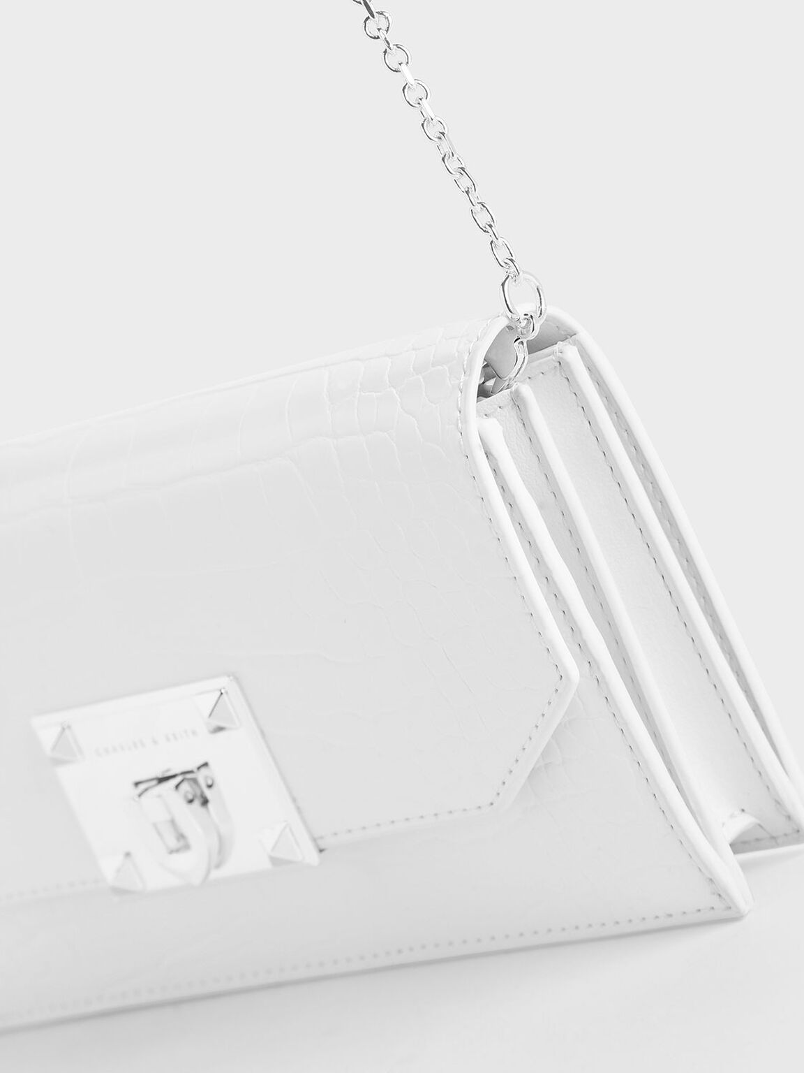 Croc-Effect Push Lock Flap Wallet, White, hi-res