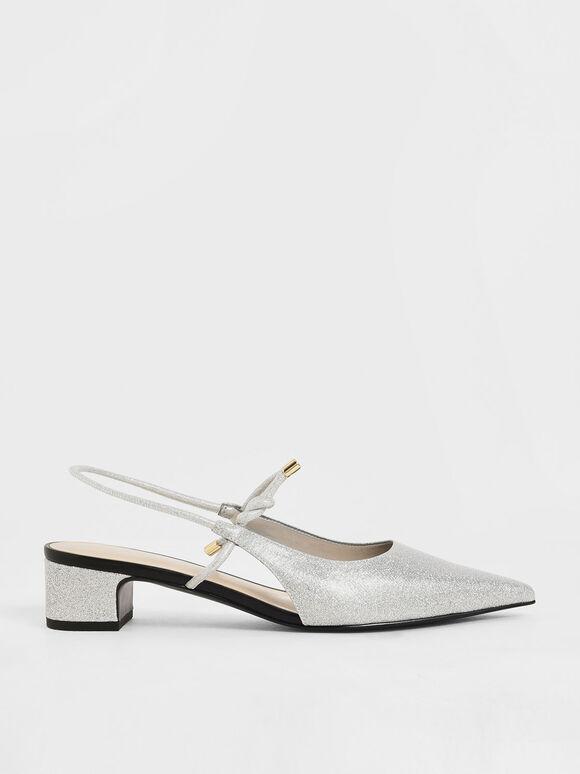 扭結瑪莉珍尖頭鞋, 銀色, hi-res