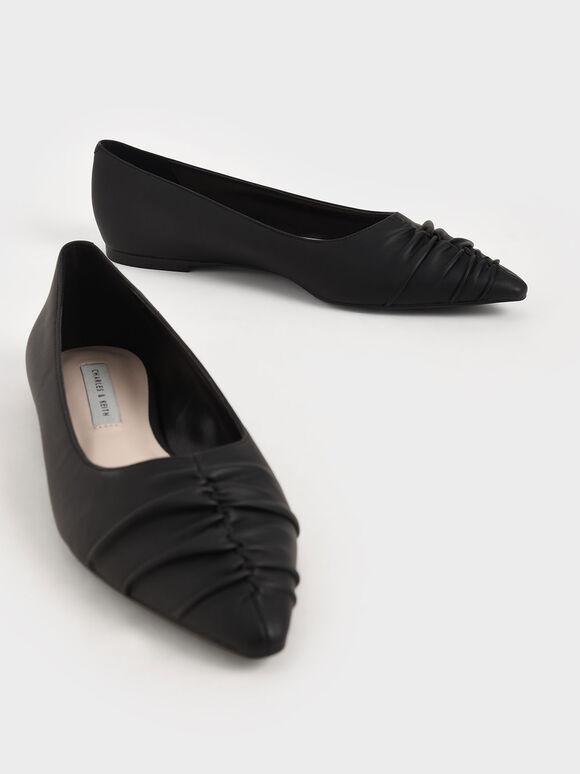 抓皺尖頭平底鞋, 黑色, hi-res
