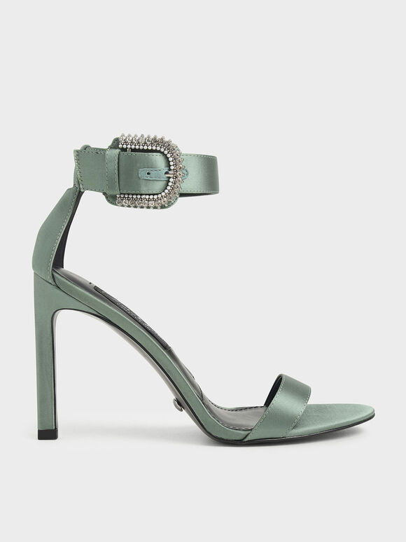 Satin Embellished Buckle Stiletto Heels, Sage Green, hi-res