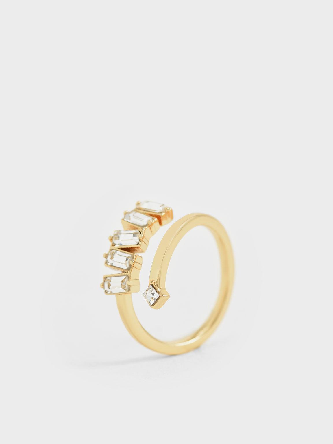施華洛世奇®水晶流星戒指, 金色, hi-res
