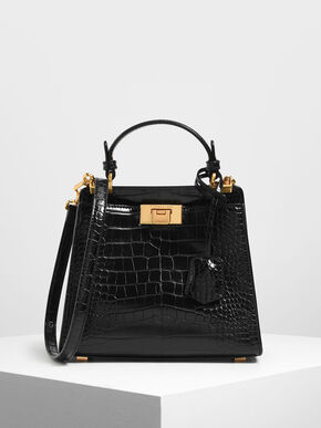 Croc-Effect Angular Handbag, Black Textured