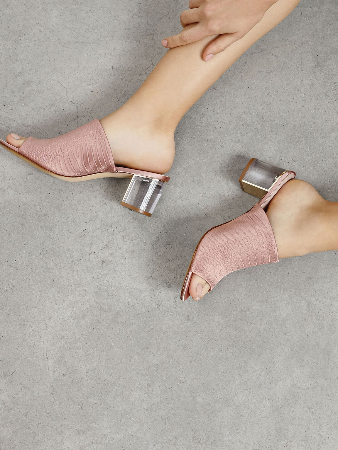 Embossed Fabric Heeled Slide Sandals, Nude, hi-res