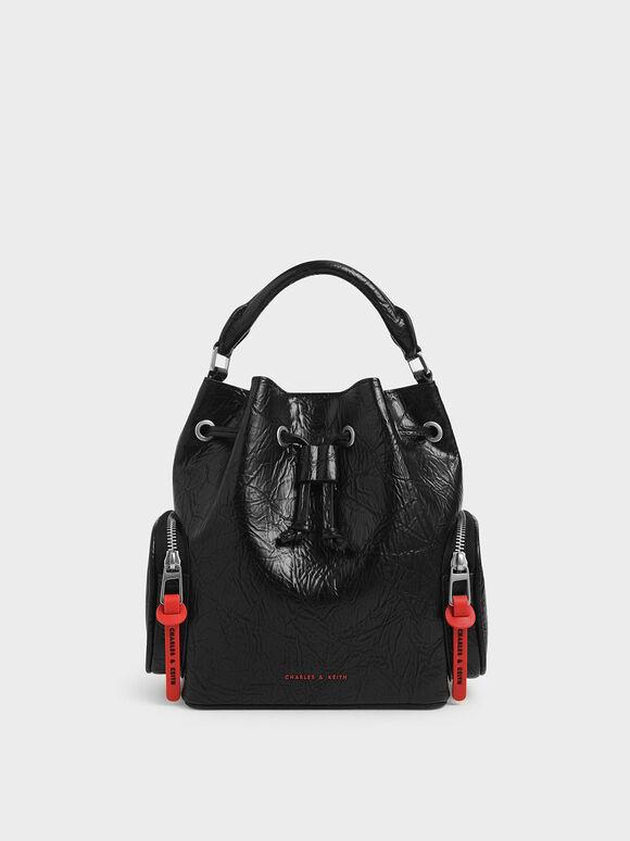 Wrinkled Effect Drawstring Bucket Bag, Black, hi-res