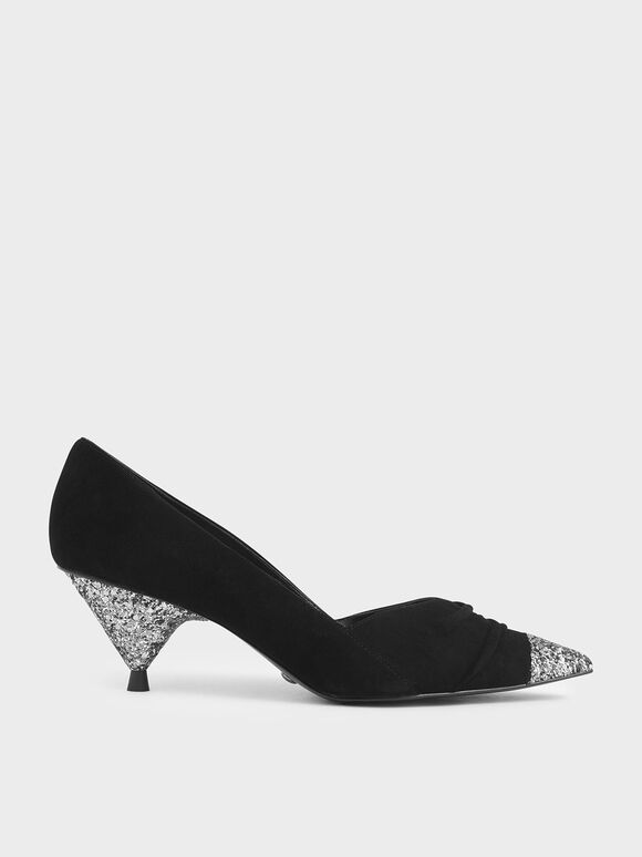 Kid Suede Glitter Cone Heel Pumps, Black, hi-res