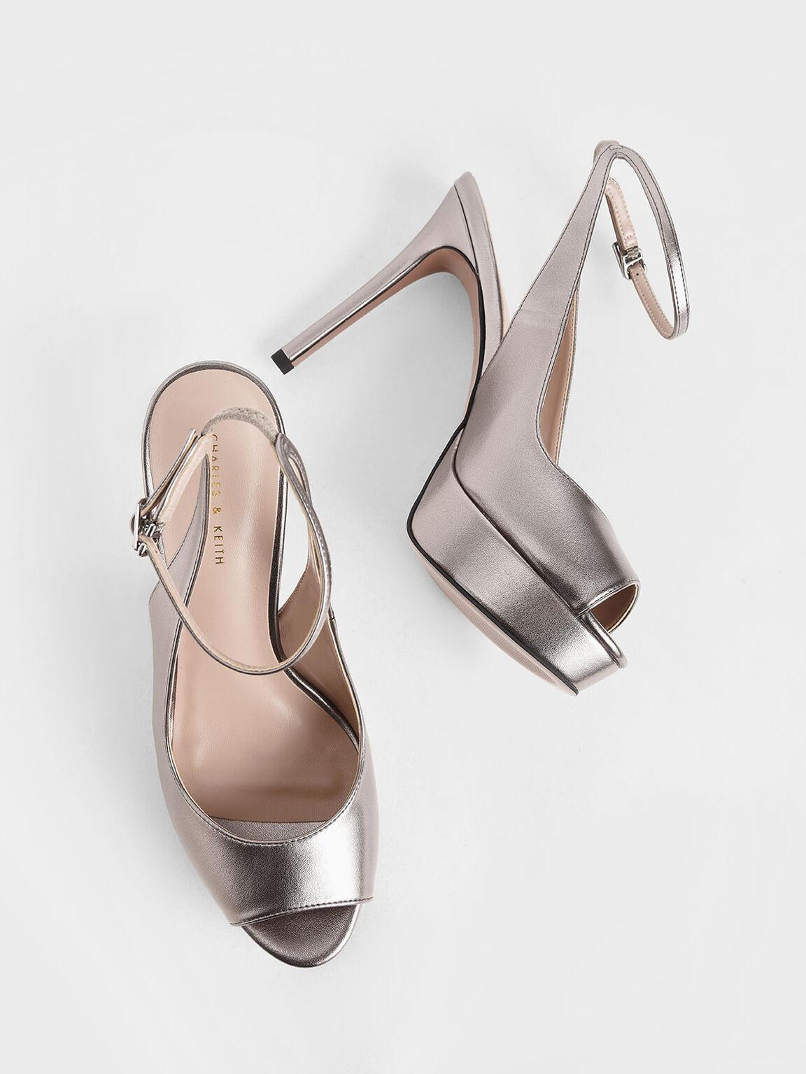 Metallic Ankle Strap Platform Heels, Pewter, hi-res
