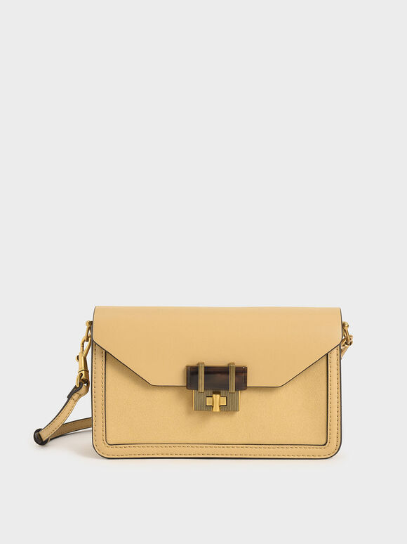 Stone-Embellished Envelope Bag, Yellow, hi-res