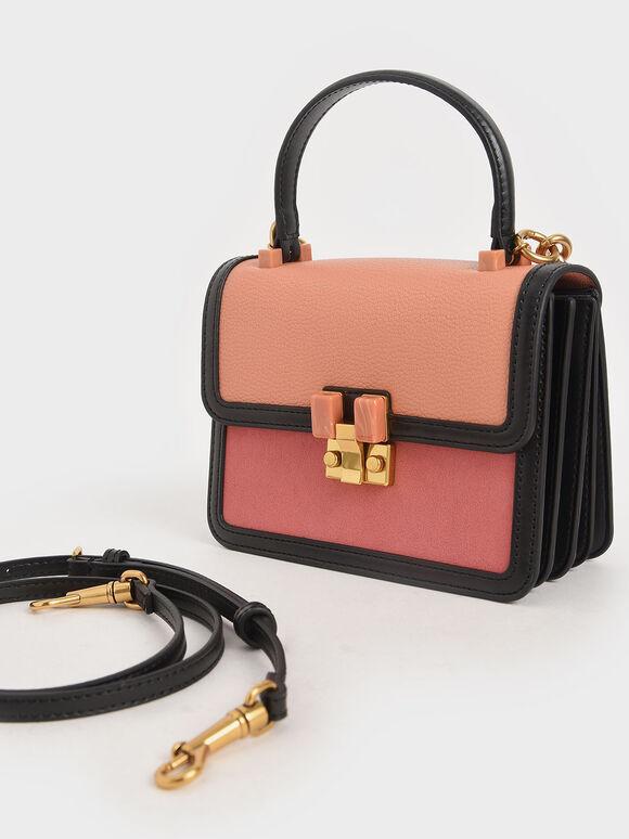 Small Chunky Chain Strap Bag, Peach, hi-res