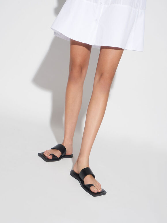 方頭趾環拖鞋, 黑色, hi-res