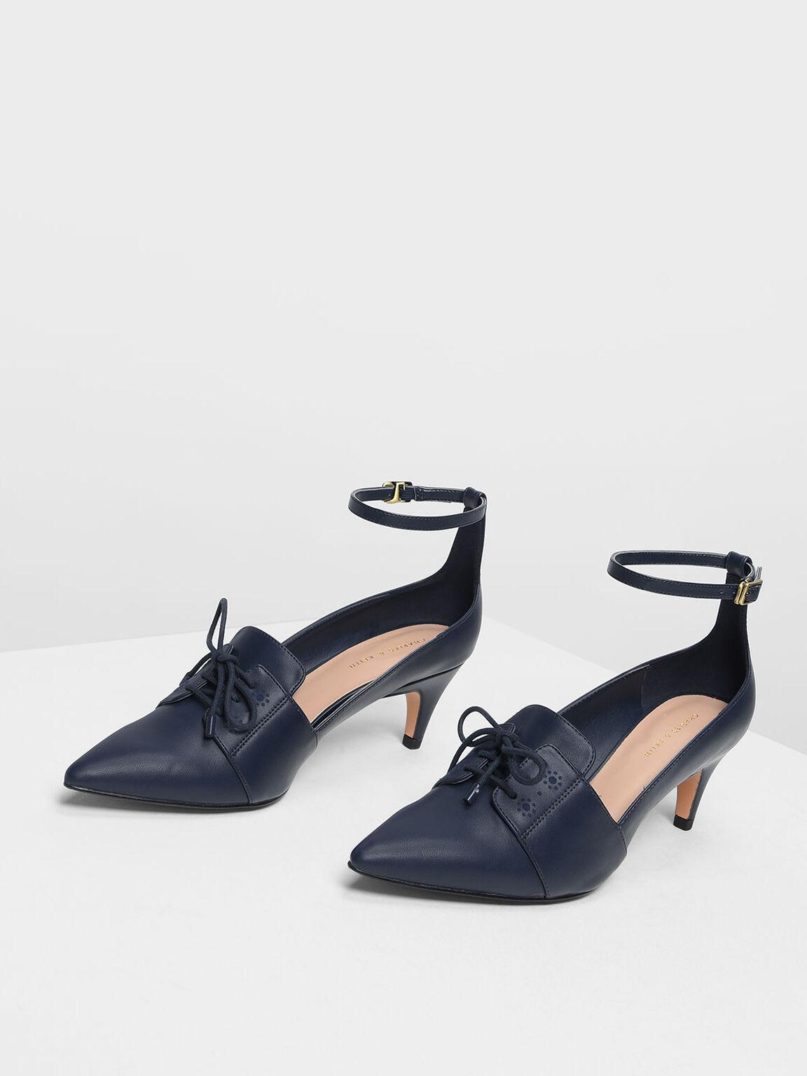 Ankle Strap Pointed Heels, Dark Blue, hi-res