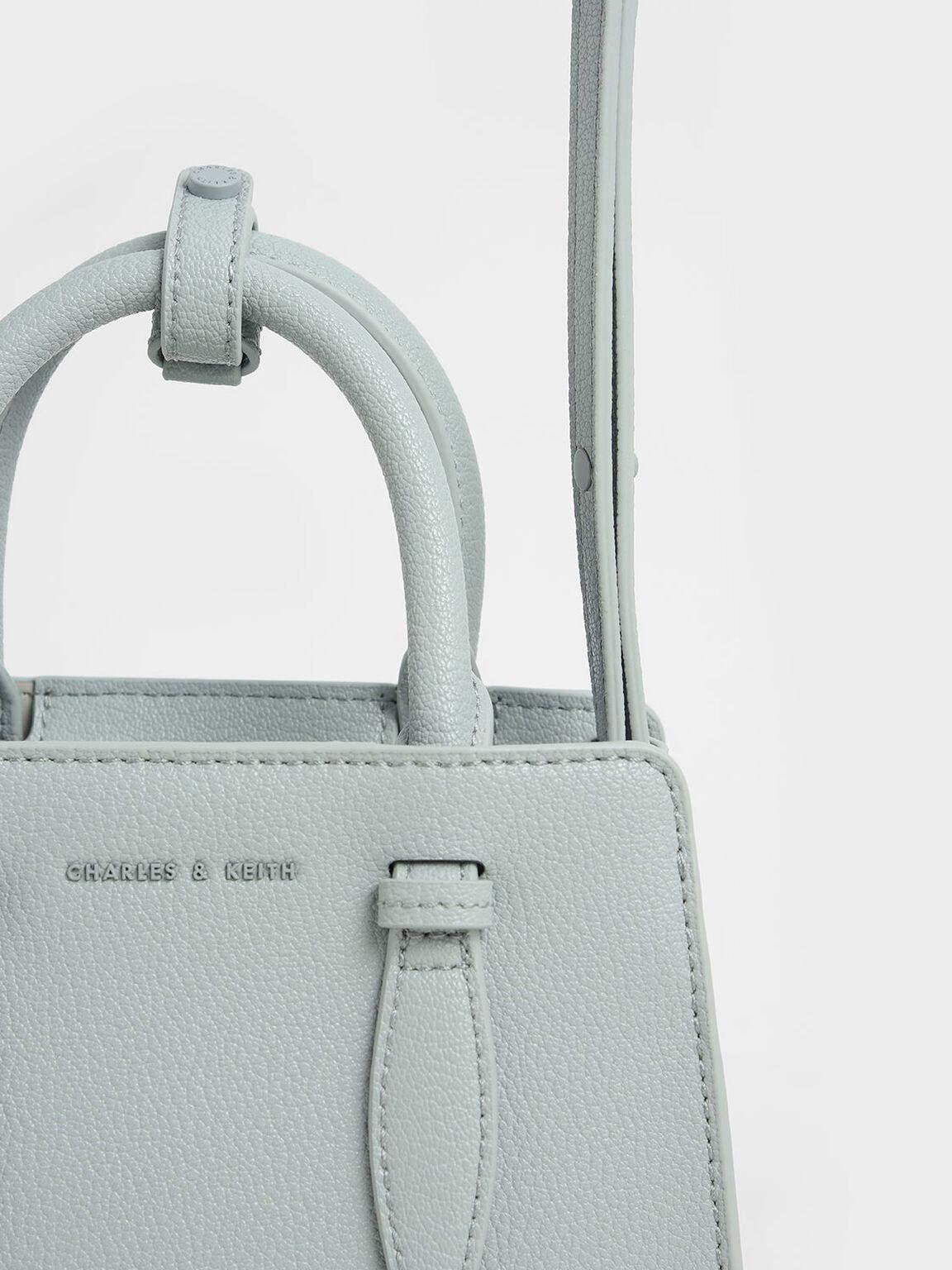 Double Top Handle Structured Bag, Light Blue, hi-res
