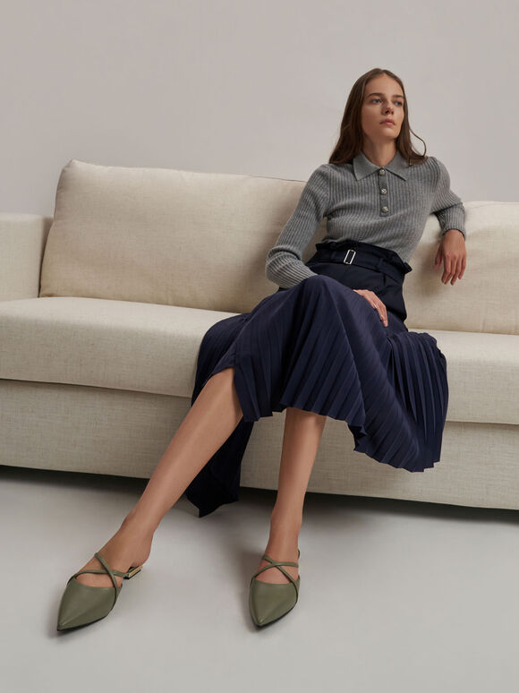 華麗低跟尖頭鞋, 橄欖色, hi-res