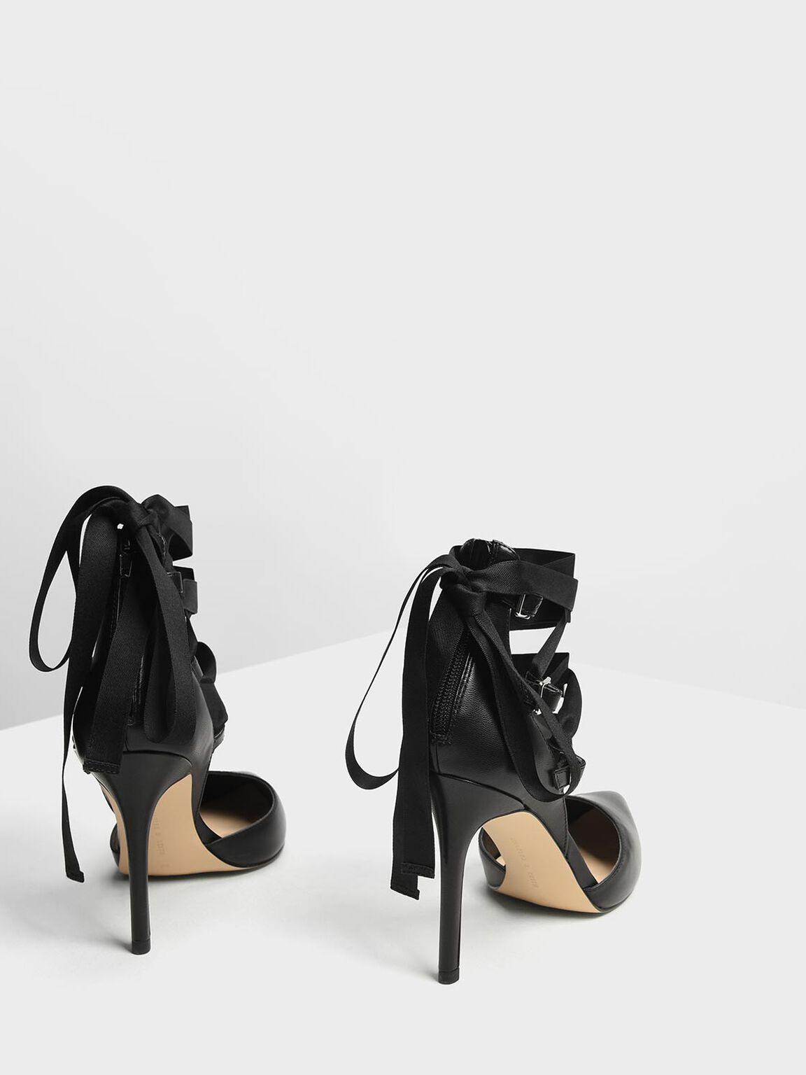 Lace Up Pointed Pumps, Black, hi-res