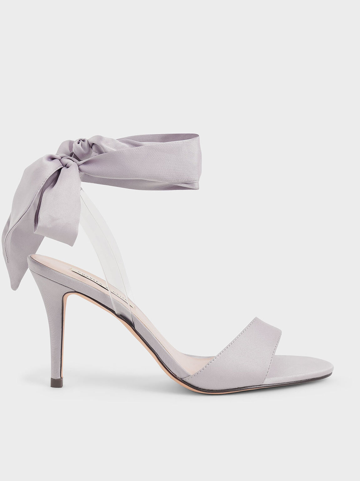 Satin Ribbon Ankle-Tie Sandals, Grey, hi-res