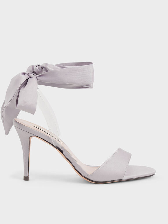 Satin Ribbon Ankle-Tie Sandals, Grey, hi-res