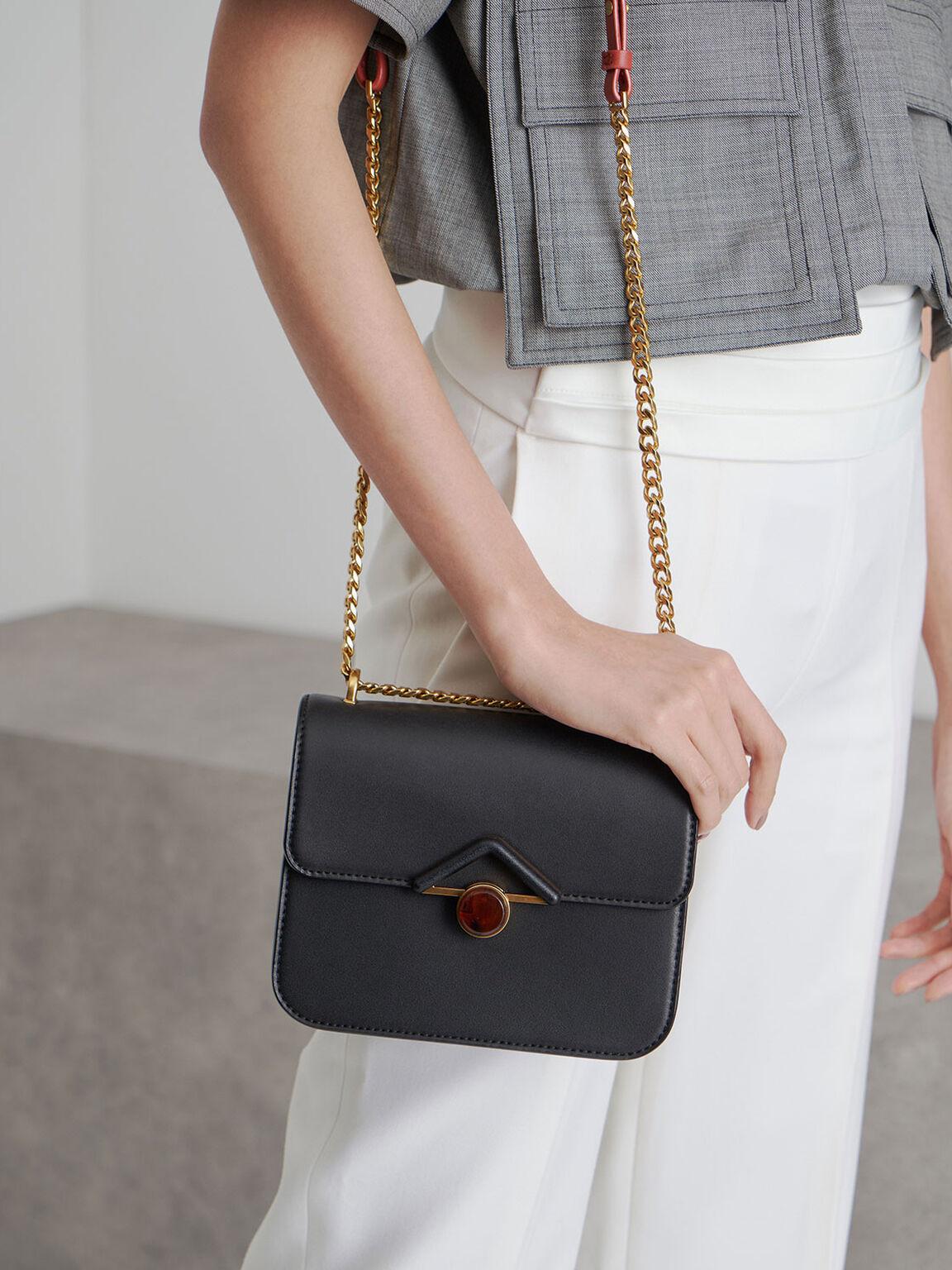 Stone Embellished Crossbody Bag, Black, hi-res