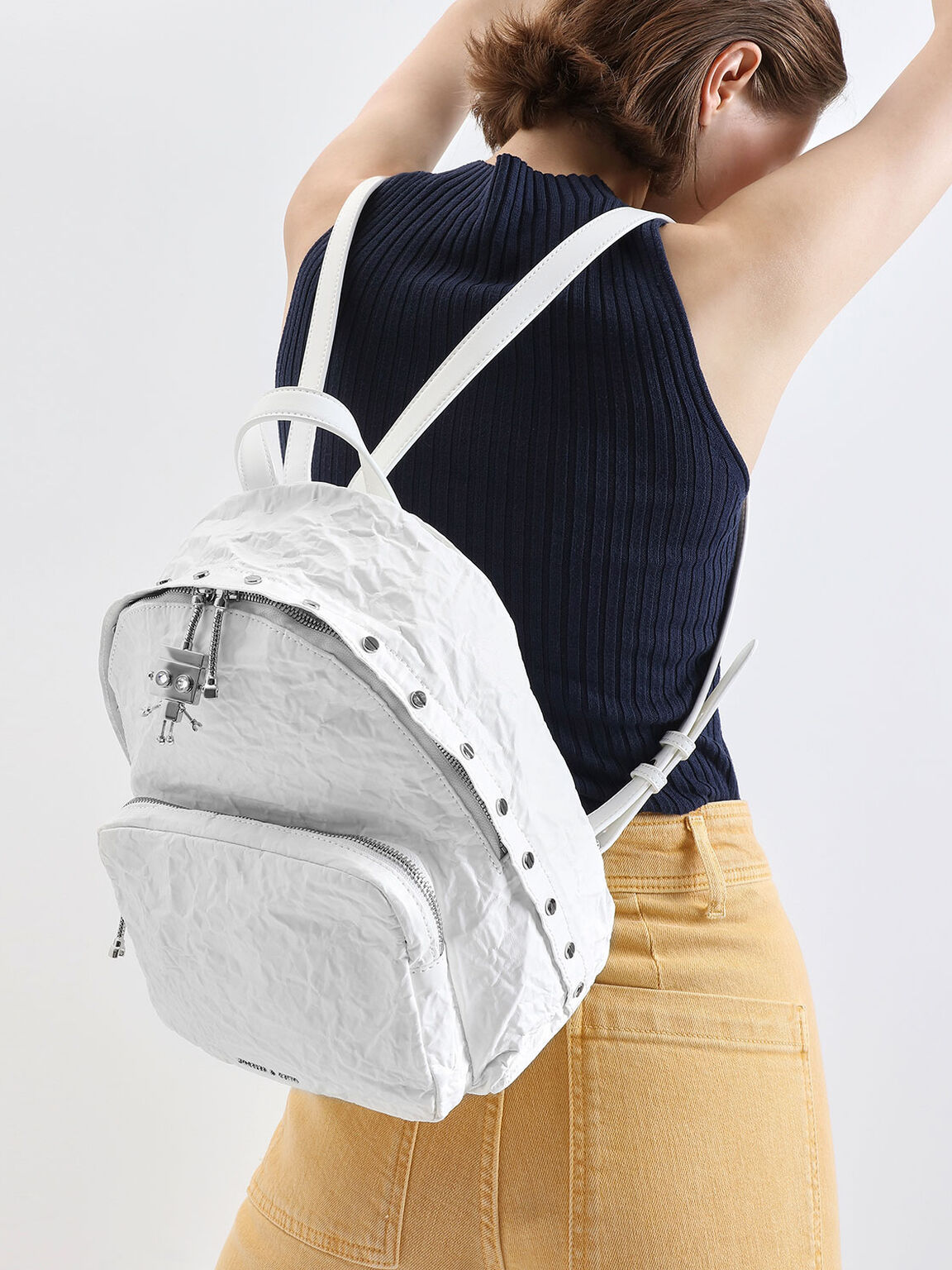 Robot Charm Wrinkled Effect Backpack, White, hi-res