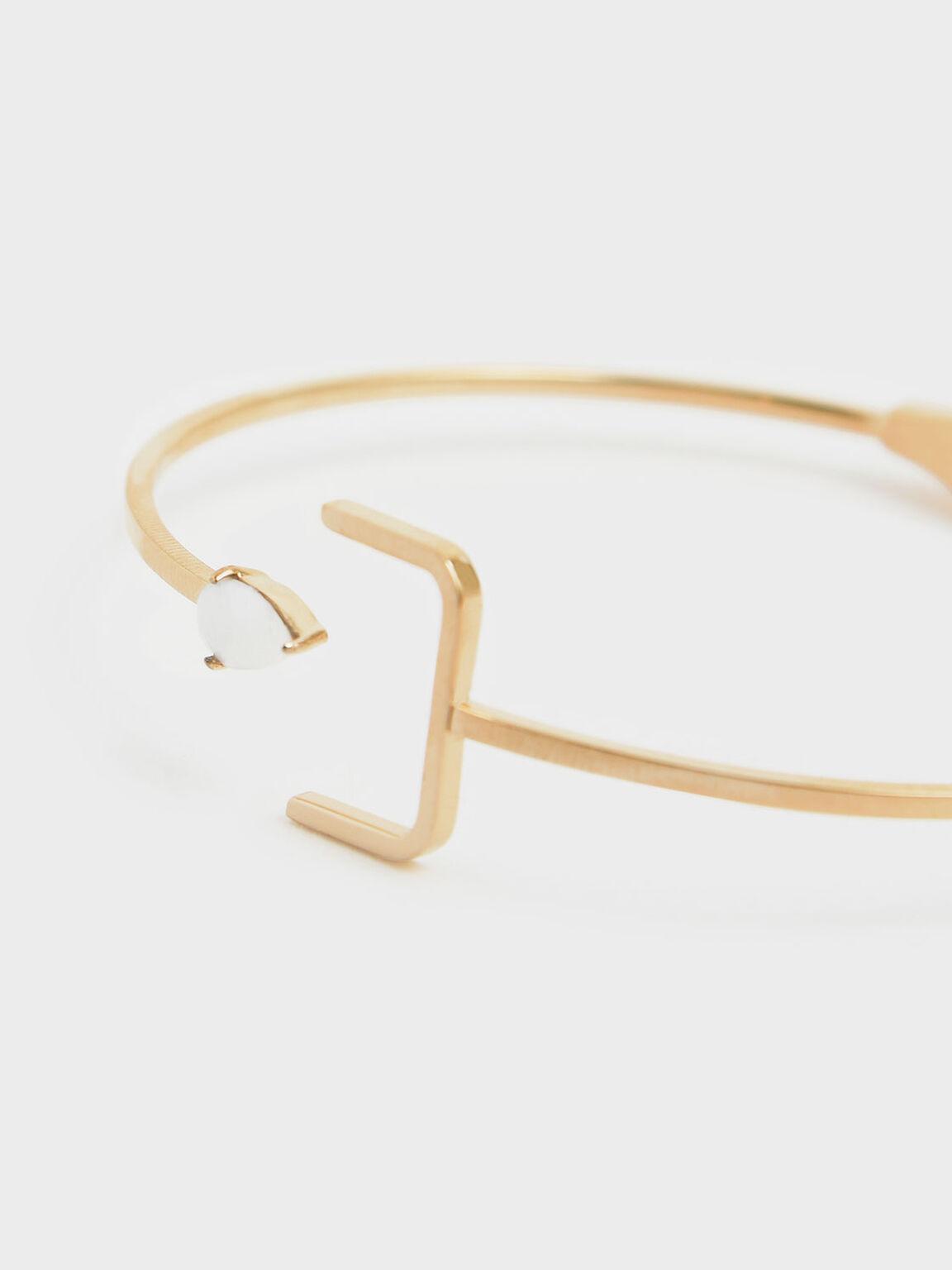 Moonstone Cuff Bracelet, Gold, hi-res