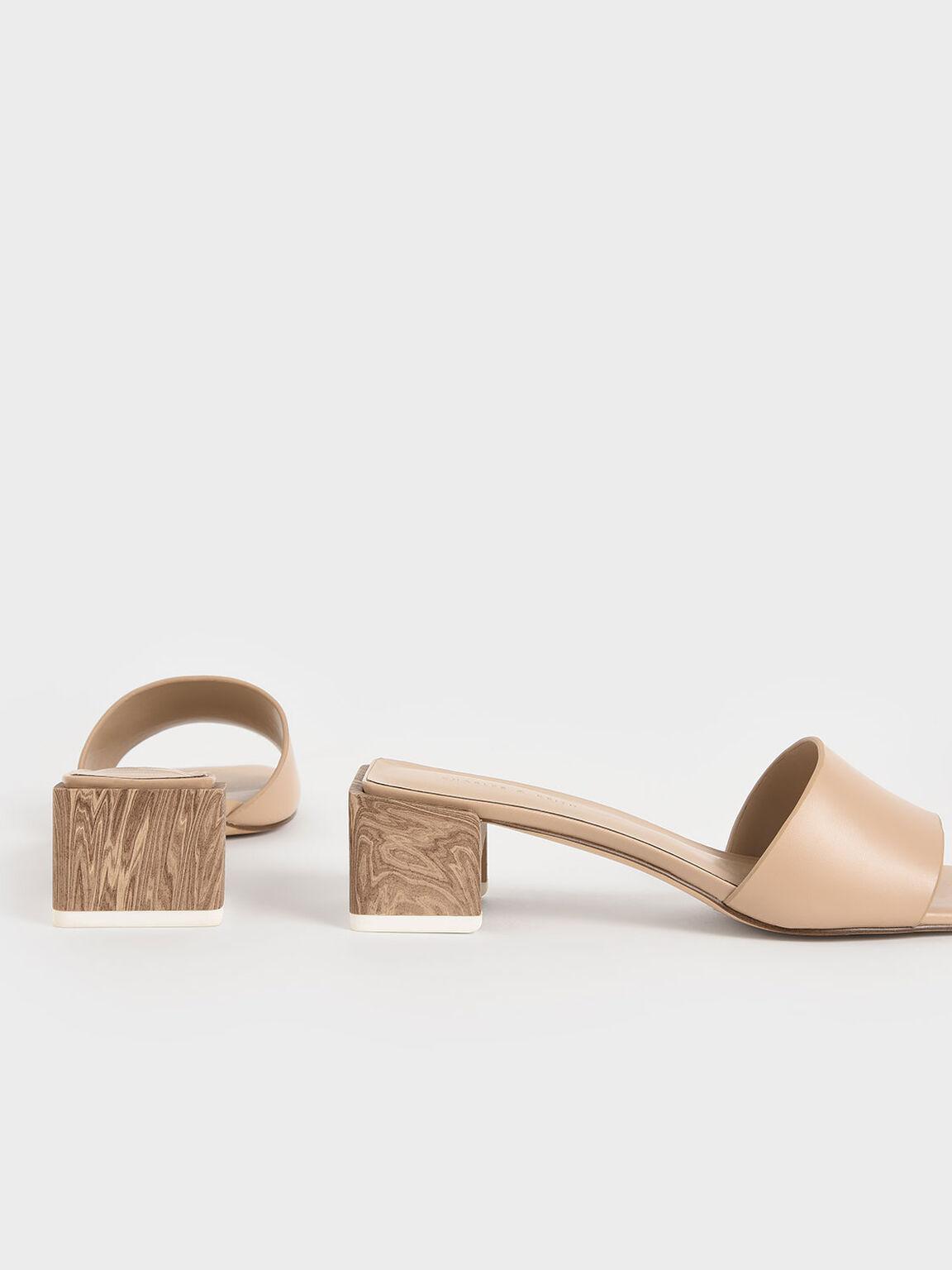 Sculptural Heel Mules, Beige, hi-res