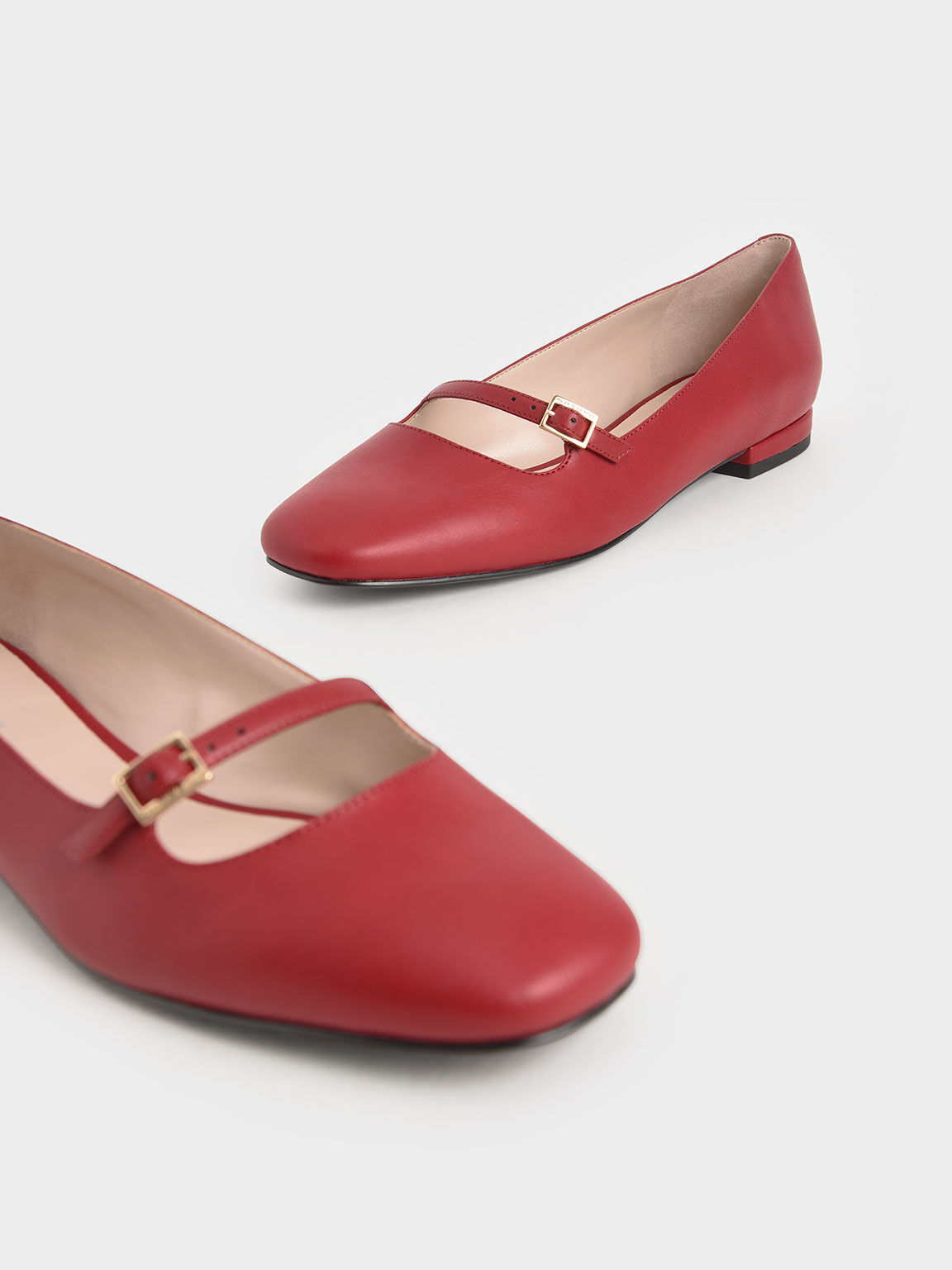 Mary Jane Flats, Red, hi-res